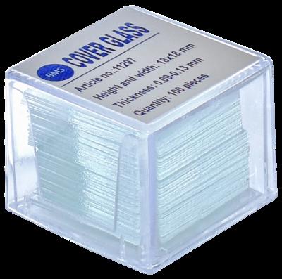 Helderwit BMS dekglaasjes 18 x 18 mm, 100 stuks, 0,09 - 0,13 mm