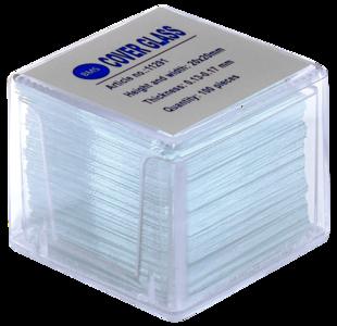 Dekglaasjes BMS helderwit 20 x 20 mm, 0,13 - 0,17 mm, 100 stuks